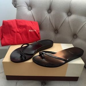 Bally black leather open toe Flat sandals shoes 6